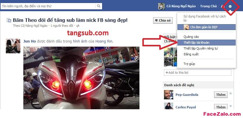 bat tat tinh nang theo doi nick facebook, cach tang sub facebook lam nick sang dep