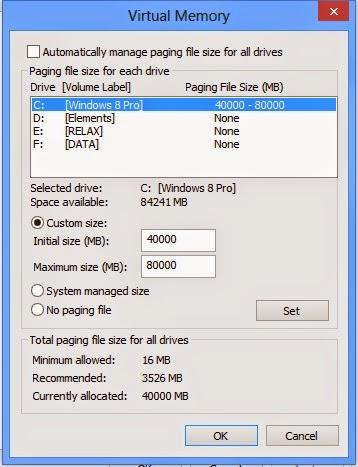 "Sửa lỗi ""Virtual memory minimum too low"" windows 8"
