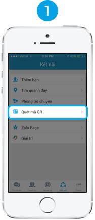 """Mở ứng dụng Zalo ở di động, vào mục Kết nối, chọn """"Quét mã QR"""""""