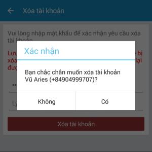 Zalo Chat sẽ nhắc bạn lần nữa, liệu có chắc chắn muốn xóa tài khoản?