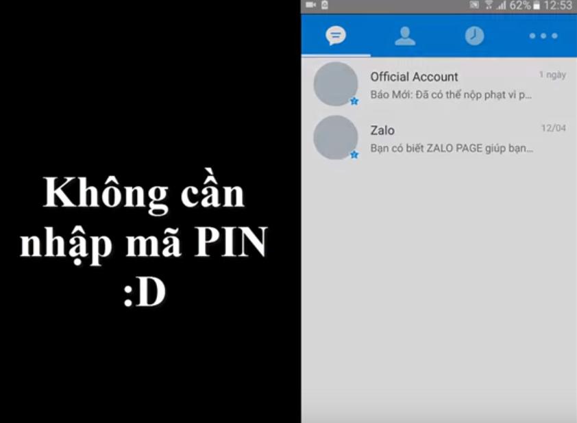 Vào Zalo không cần mật khẩu, mã PIN trên điện thoại Android