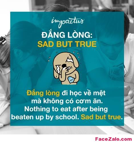 - Đắng lòng: SAD BUT TRUE - Đắng lòng, đi học về mệt mà không có cơm ăn: Nothing to eat after bearing beaten up by school. Sad but true