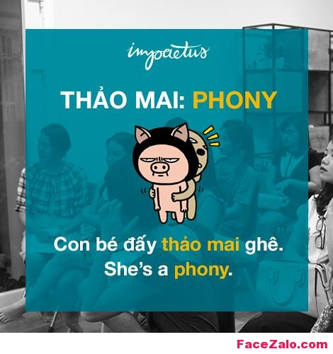 - Thảo mai: Phony - Con bé đấy thảo mai ghê: She's a phony