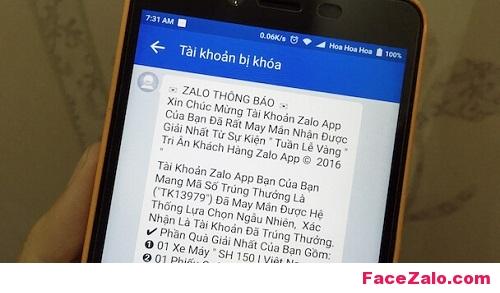 Chiêu trò nhắn tin lừa đảo với nội dung trúng thưởng trên Zalo