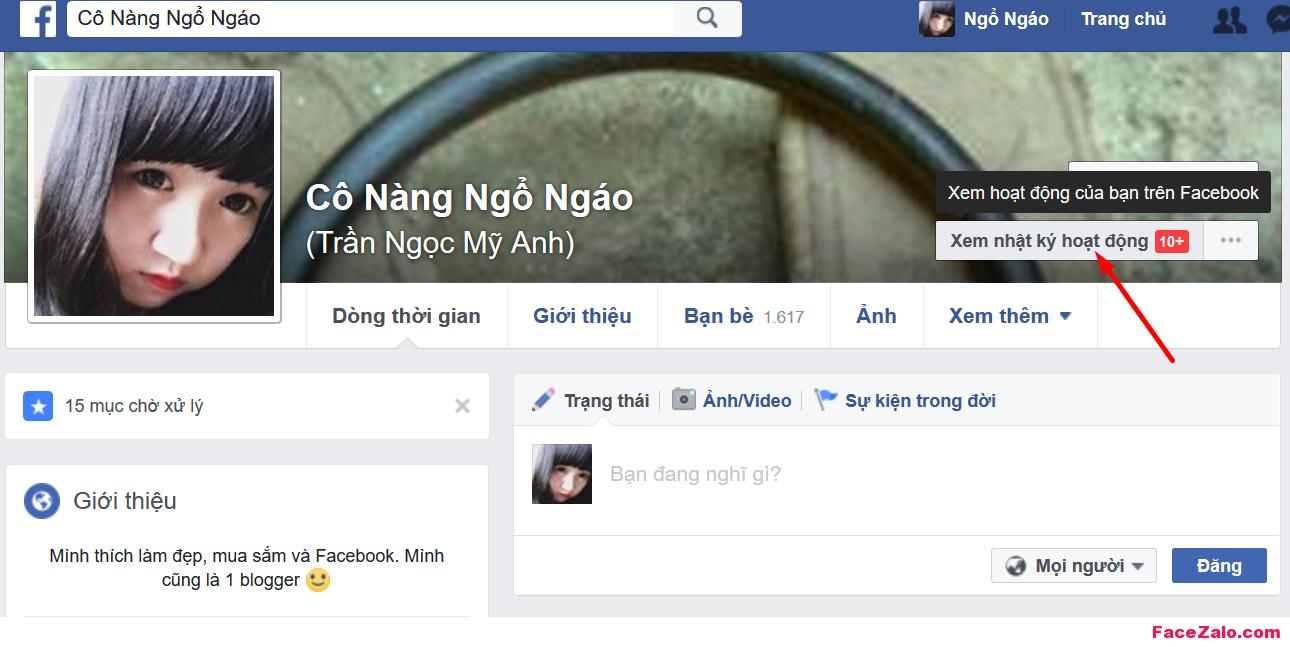 Trên trang cá nhân Facebook của bạn, chọn Nhật ký hoạt động (Activity log) bên dưới ảnh bìa (cover).