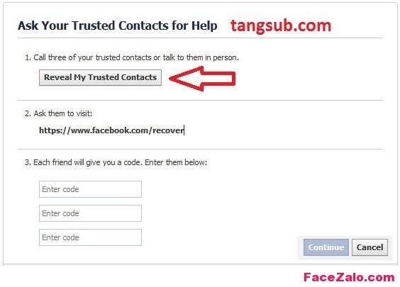 sử dụng tính năng Trusted Contacts khi quên mật khẩu Facebook