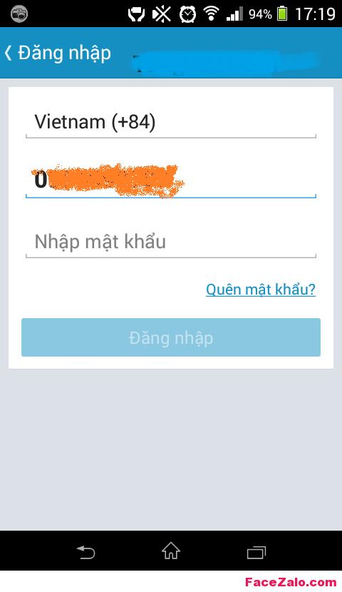 Đăng ký Zalo - Đăng nhập Zalo khi quên mật khẩu